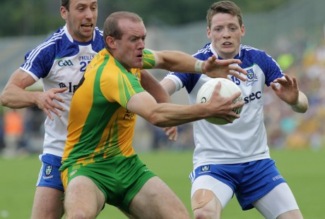 Neil Gallagher under pressure against Monaghan.