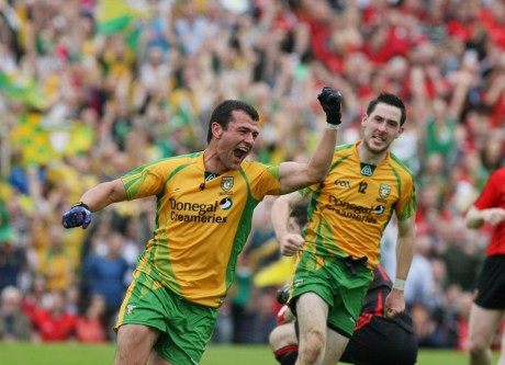 Frank McGlynn after scoring Donegal's second goal in the Ulster final against Down last year. Photo: Donna McBride