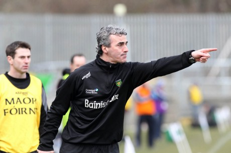 Donegal manager Jim McGuinness giving orders from the sideline. Photo: Donna McBride