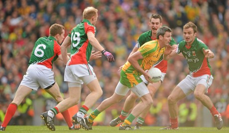 Christy Toye - pictured in action during the 2012 All-Ireland final - could return to the Donegal side on Wednesday night when they play Queen's.