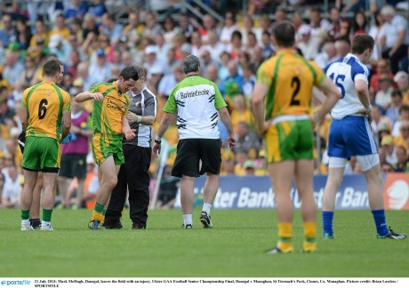 21 July 2013; Mark McHugh, Donegal, leaves the field with an injury. Ulster GAA Football Senior Championship Final, Donegal v Monaghan, St Tiernach's Park, Clones, Co. Monaghan. Picture Mark McHugh, Donegal, leaves the field with an injury during the Ulster final.