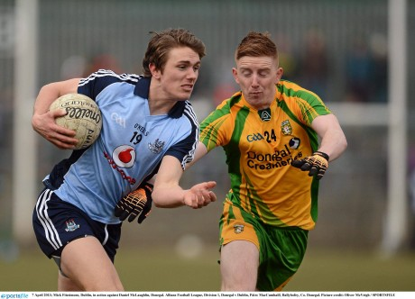 Michael Fitzsimons in action against Daniel McLaughlin during the League meeting of the teams this year.