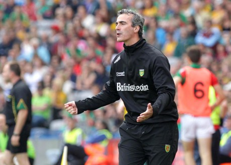 Jim McGuinness on the sideline against Mayo. Photo: Donna McBride