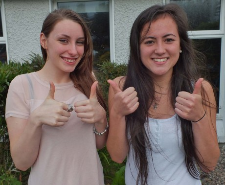 Thumbs up from Pobalscoil Ghaoth Dobhair students Danielle Ní Dhochartaigh and Míde Ní Bhaoill. Photo: Tommy Curran