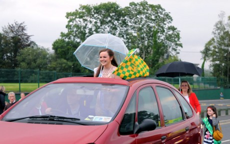 Catherine McCarron the Donegal Rose being driven through the town at a special homecoming held in her honour on Friday night.