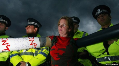 Rosie Kane, in 2004 when she was an MSP, during a protest outside the Faslane submarine base.