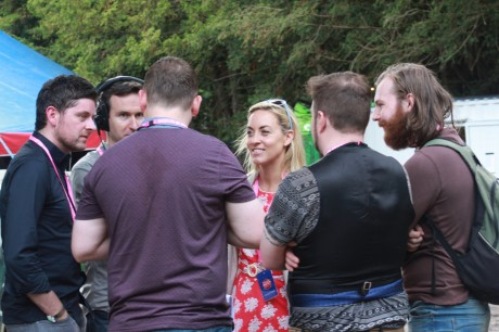 Well-known RTÉ broadcaster Kathryn Thomas interviews Donegal's Heads Of State (l-r) Tommy Callaghan, Gary Doherty, Colin Montgomery and Orri McBrearty at the Castlepalooza Festival. Photo: Christopher Curran