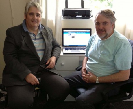 Freddie O'Donnell (co-founder) with his cousin Connell Gallagher, publisher of the Irish Emigrant, who built the website.