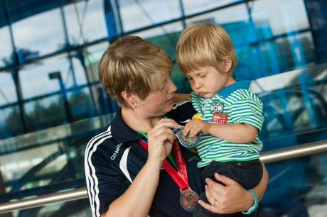 Vienna White, from Donegal one of the Irish Transplant team athlete as she arrived home at Dublin Airport to a hero's welcome from her two year old son Cameron.
