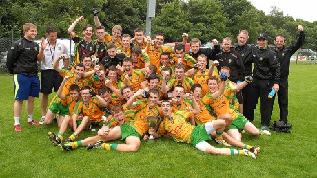 Donegal celebrate after winning the Buncrana Cup on Saturday.