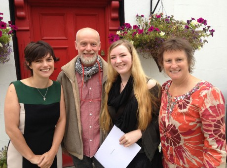 Coláiste Ailigh student Saoirse Ní Labhaois Nic Aoidh with her very proud parents Brian and Jan after she picked up her leaving certificate results. Saoirse intends to follow a career in art. Also in photo is Úna Ní Bhriain, leas- phríomhoide , Coláiste Ailigh.