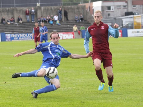 Michael Funston scores for Harps against Cobh Ramblers earlier in the season. Photo: Donna McBride