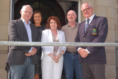 Sen Jimmy Harte, Mary Harte, Kathleen Lynch, TD, Mick Quinlivin and Cllr Paschal Blake at the Vestry, St Conal's before Minister Lynch took ill on Wednesday morning.