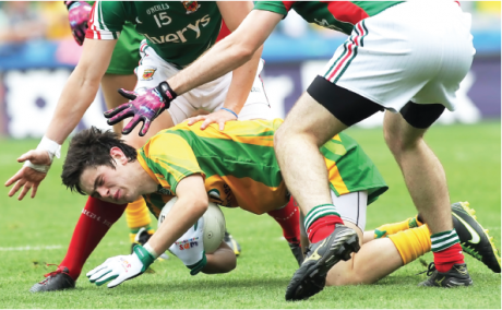 Donegal's Eoin McHugh feeling the pressure against Mayo.