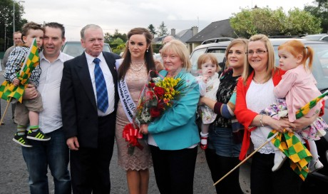 Donegal Rose Catherine McCarron is greeted by family members as she arrived back in Raphoe on Friday night.
