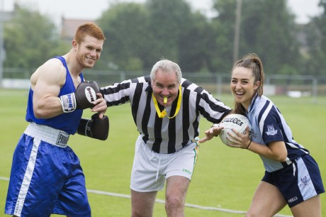 Boxer, Steve Collins jnr and Ladies Gaelic footballer Ciara Ruddy – with former rugby player, and sports commentator Brent Pope as referee fight it out as part of the Irish Cancer Society's new Big Championship campaign.