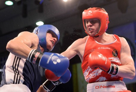 Jason Quigley in action against Bogdan Juratoni, Romania in the European senior final in June.
