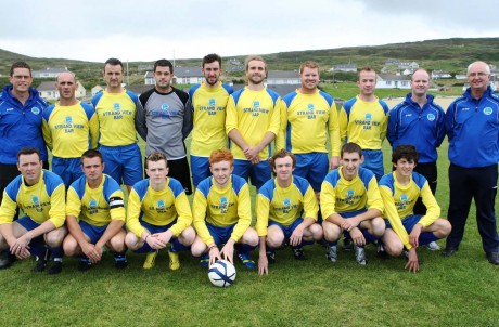 The history making panel of Strand Rovers Football Club who played in their first Donegal Junior League, Brian Mc Cormick Cup, match against near neighbours Keadue Rovers on Sunday in Maghery. Photo: Gary Foy
