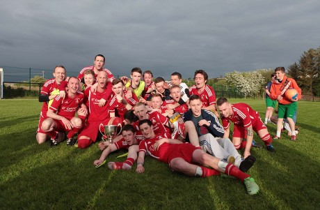 Swilly Rovers celebrate winning the Knockalla Caravans Cup earlier this year. This afternoon, they will bid to reach another final when they head to Drumkeen in the Donegal News USL Cup.
