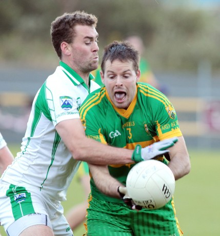 Ardara's Declan Gavigan in action against Eamon McGee of Gaoth Dobhair