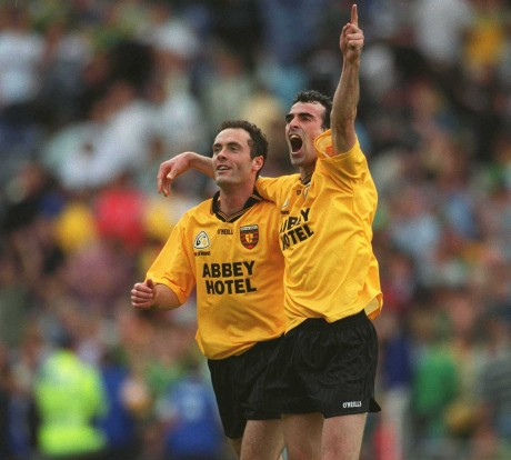 Jim McGuinness and team-mate Damien Diver celebrate after Donegal's qualifier victory over Meath in 2002.