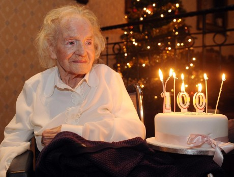Mrs Grace Houston celebrating her 100th birthday earlier this year. Photo by Gerard McHugh