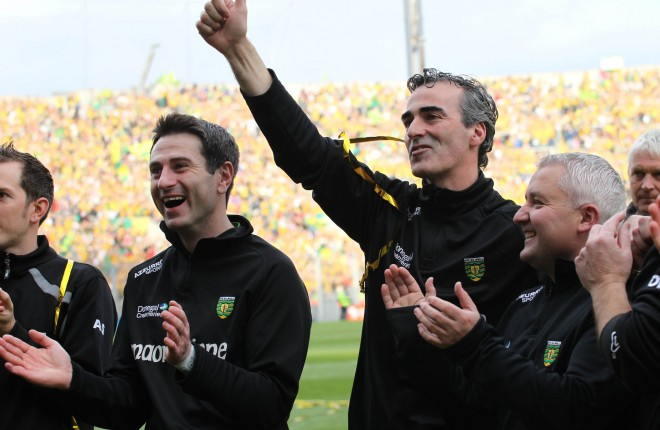 Rory Gallagher pictured with Jim McGuinness after the 2012 All-Ireland final.
