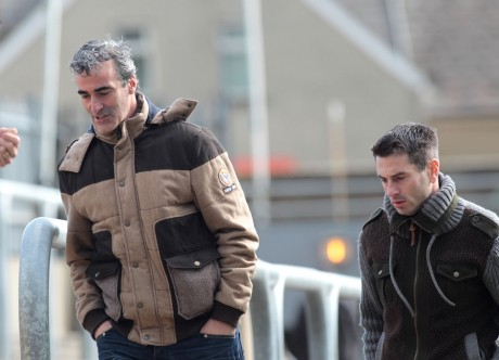 Jim McGuinness and Rory Gallagher at MacCumhaill Park on Sunday afternoon, their last appearance together before the announcement of Rory Gallagher's leaving the backroom team. Photo: Donna McBride