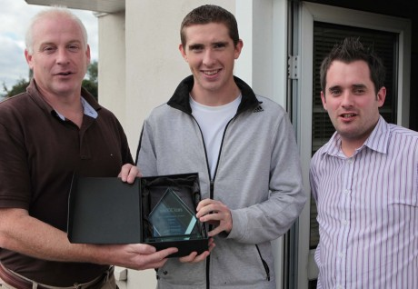 Brendan Boyce receives the Donegal News Sports Star of the Month award from Harry Walsh and Chris McNulty.