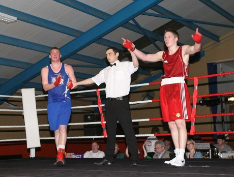 Jason Quigley, Finn Valley ABC (red) is declared the winner against Chris Blaney, Navan ABC in March 2012, the start of his 31 fight unbeaten run. Photo: Donna McBride
