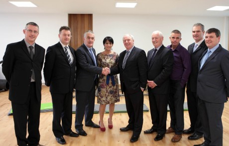 Patsy McGonagle welcomes ministers Michael Ring and Dinny mcGinley to the opening of the Finn vallay Leisure Centre on Monday. Also included from left are, Paul Kilcoyne, Donegal County Council, Seamus Neely, Donegal County Manager, Rosaleen McGonagle, Conor McGonagle, Martin McDevitt and Neil Martin, Finn Valley Leisure Centre.