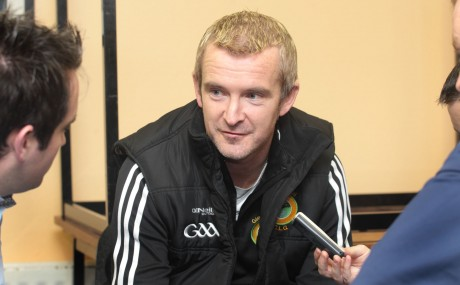 Glenswilly manager Gary McDaid speaks to Chris McNulty on Wednesday night. Photo: Donna McBride