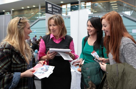 Catherine Lyster, Careers Officer, LYIT, with students, Sinead Moriarty, Aileen Gorman and Eimear Donoghue at the Careers and Postgraduate Fair on Monday.