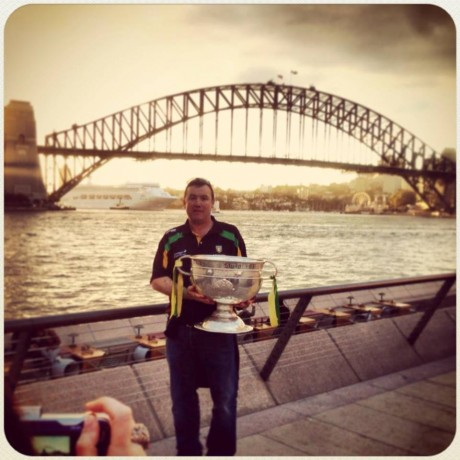 Cieran Kelly with the Sam Maguire Cup in Sydney.
