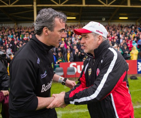 Jim McGuinness and Mickey Harte will meet in the opening day of the 2014 Dr McKenna Cup.