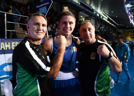 Jason Quigley with Billy Walsh, left, and Zaur Antia.