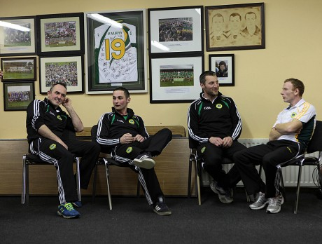Glenswilly players John McFadden, Darren McGinley, Eamon Ward and Brian McDaid in relaxed form ahead of the Ulster senior club final against Ballinderry. Photo: Declan Doherty.