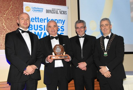 Business Person of the Year Award winner Alfie Greene with Sponsor, Michael Saling, Radisson Blu Hotel, Columba Gill, Editor, Donegal News and John Watson, Letterkenny Chamber President at the Letterkenny Business Awards in conjunction with Letterkenny Chamber and Donegal News. Photo: Donna McBride