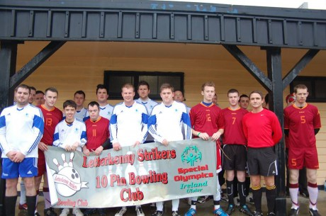 Pictured are the two teams that recently participated in a Special Olympics Charity Football Match.