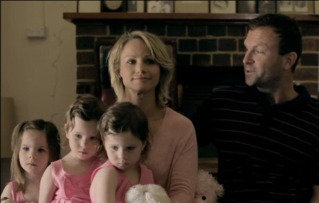 Declan's wife Jodie and their triplets with the actor who played 'Peter', the onscreen father.