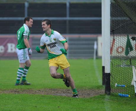 Glenswilly's Colin Kelly scores his side's second goal against Roslea.