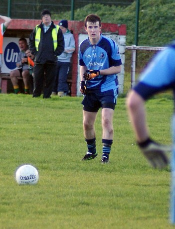 Cathal McGettigan lines up a pressure free to send the game into extra-time.