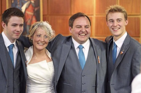Padraig MacLochlainn, TD with his newlywed wife Sinead, son Dillon and step son Calvin, at yesterday's wedding.