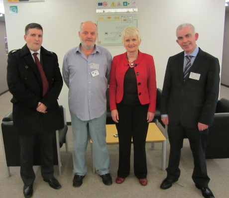 Independent MEP Marian Harkin facilitated windfarm campaigners to meet European Commission officials in Brussels on Monday, November 4th.  Pictured in Brussels were (L to R)  Damian McCallig, Donegal Town, Adviser Glenties Wind farm Group;  Ernan O'Donnell, Chairman Glenties Windfarm Group, Glenties; Marian Harkin MEP, Peter Crossan, Adviser Glenties Windfarm Group.