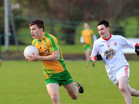 Tony McClenaghan of Donegal against Ronan McGee of Tyrone.
