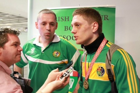 Conor Quigley and his son, the world silver medalist Jason, at the homecoming from the AIBA World Elite Championships in October