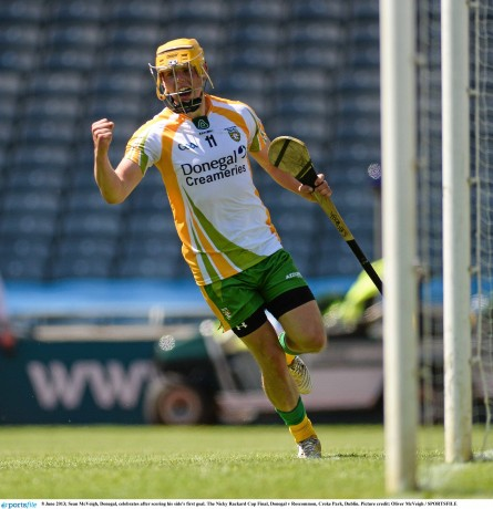 Sean McVeigh celebrates after finding the net in the Nicky Rackard Cup final.