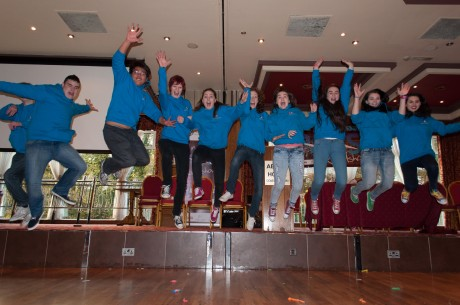 Youth Councillors having fun at end of roadshow.
