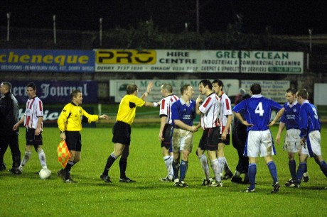 Tempers fray during the second leg of the play-off in 2003.