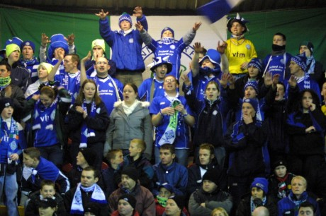 Finn Harps fans in full voice at the Brandywell in 2003. Panelists Shaun McGowan, Chris Breen and Martin Ferry are included. Behind McGowan, on the right, is Donegal News sports reporter Chris McNulty.